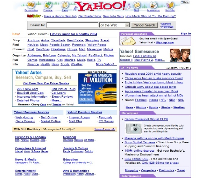 Yahoo was one of the most colorful pages back then, and just look at the images-to-text ratio